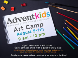 Advent Kids Morning Art Camp @ Advent United Methodist Church